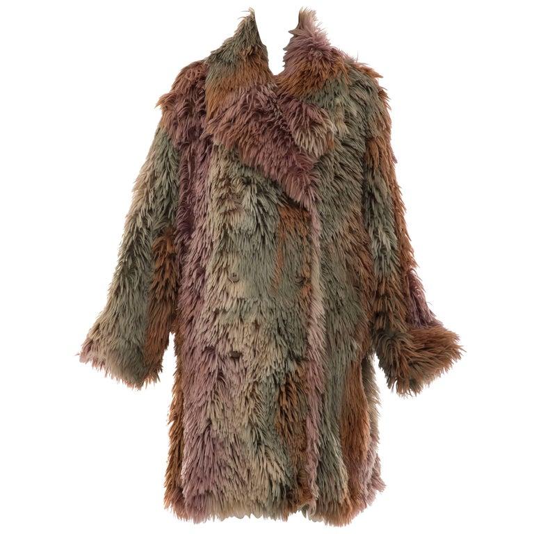 MM6 Maison Margiela Faux Fur Double Breasted Coat