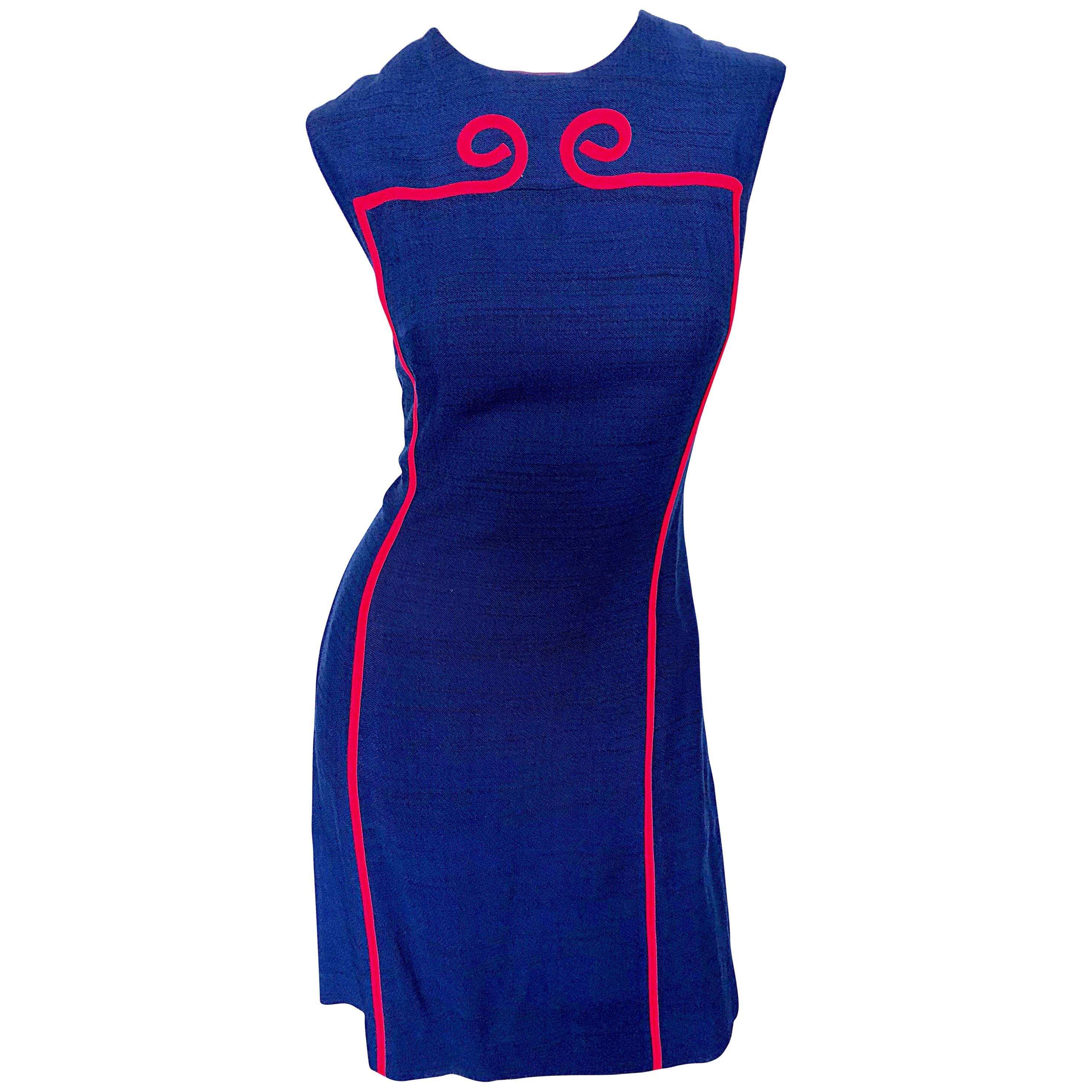 Joseph Magnin 1960s Navy Blue + Red Linen Silk Nautical Vintage 60s Shift Dress