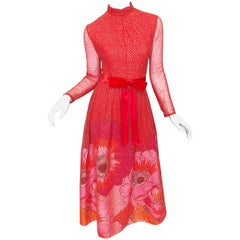 Mollie Parnis 1970s Red + Pink + Gold Silk Chiffon Flower Print 70s Gown