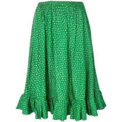 Saint Laurent Green Silk Printed Skirt
