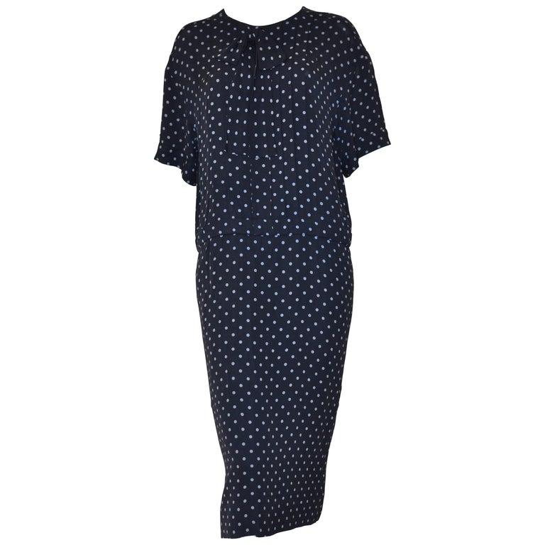 1980s Chanel Silk Polka Dot (dark blue with light blue dots) Drop Waist Dress