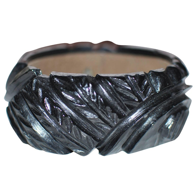 Miriam Haskell Black Carved Resin Bangle