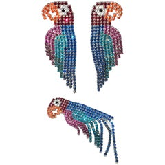 Dorothy Bauer Rhinestone Parrot Clip Earrings and Brooch Set