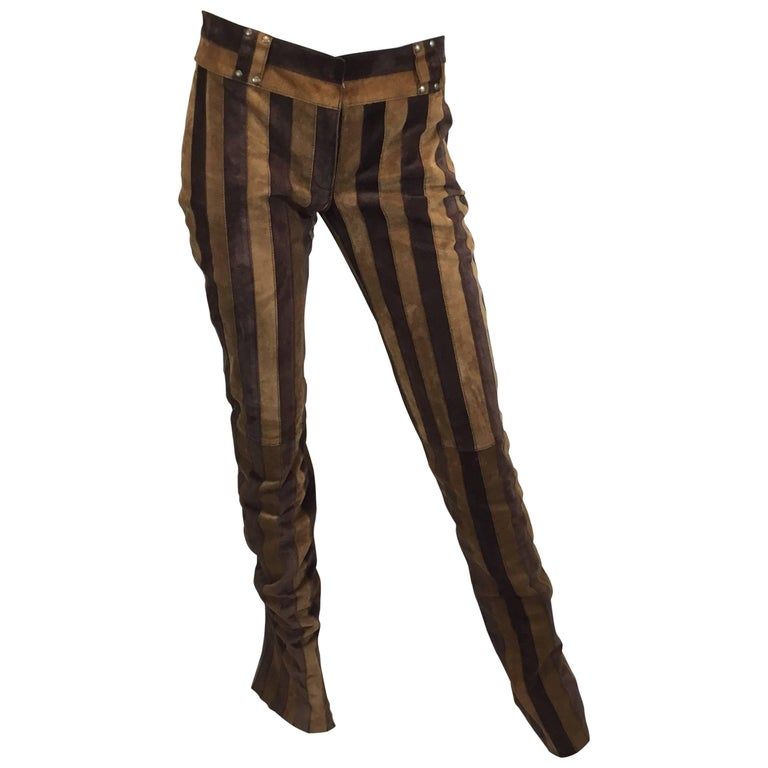 Dolce & Gabbana Gisele Suede Leather Striped Flare Pants