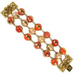 1980s Dominique Aurientis Orange Hand Painted 3 Strand Bead Bracelet Never worn