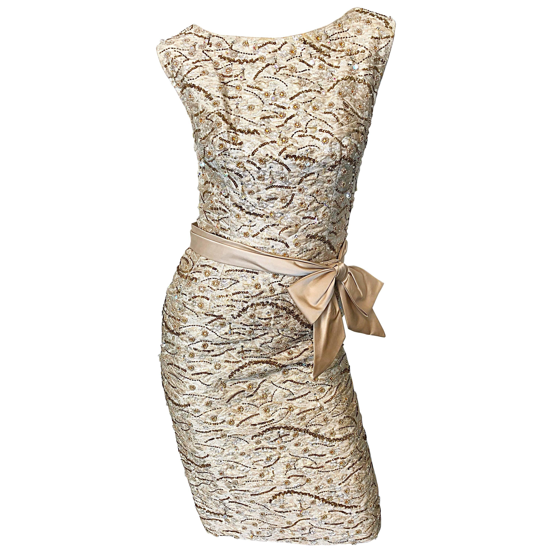 Beautiful 1950s Edward Abbott Demi Couture 50s Champagne Beige Silk Beaded Dress