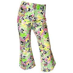 Rare 1970s Lilly Pulitzer ' The Lilly ' Mickey Mouse Disney Vintage Bell Bottoms