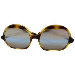 1970s Tortoise Oversized Mod Sunglasses