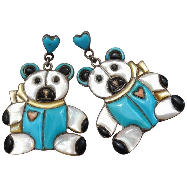 1980s Teddy Bear Zuni Turquoise Silver Earrings For Sale