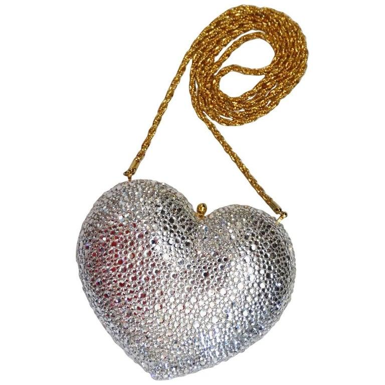 Kathrine Baumann Beverly Hills Silver Swarovski Crystal Heart Bag