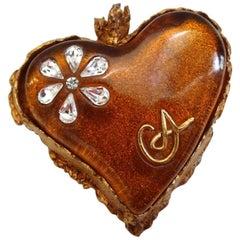 1980s Christian La Croix Bronze Enamel Heart Pendant Brooch