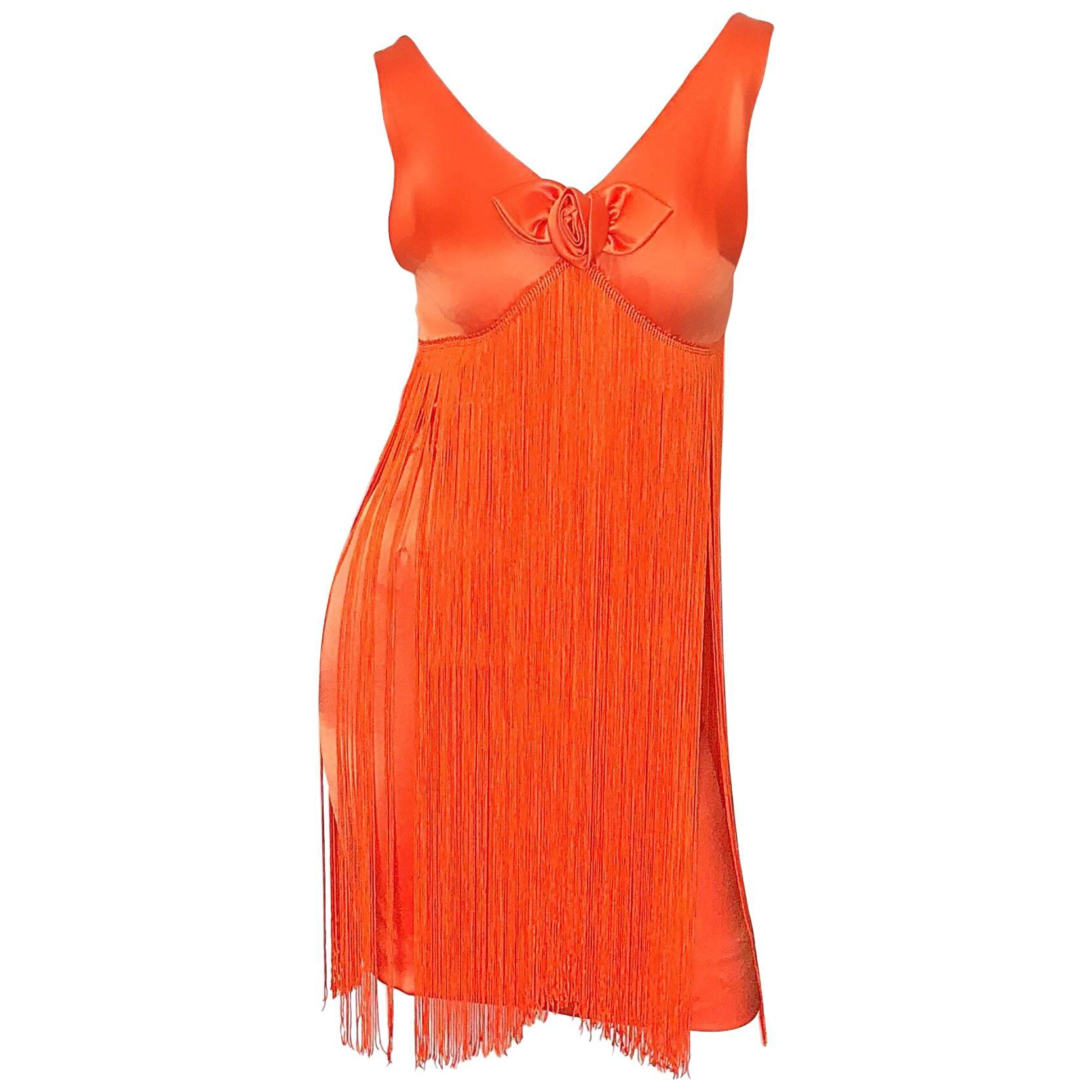 Joseph Magnin 1960s Amazing Bright Orange Fully Fringe Flapper Jersey 60s Dress