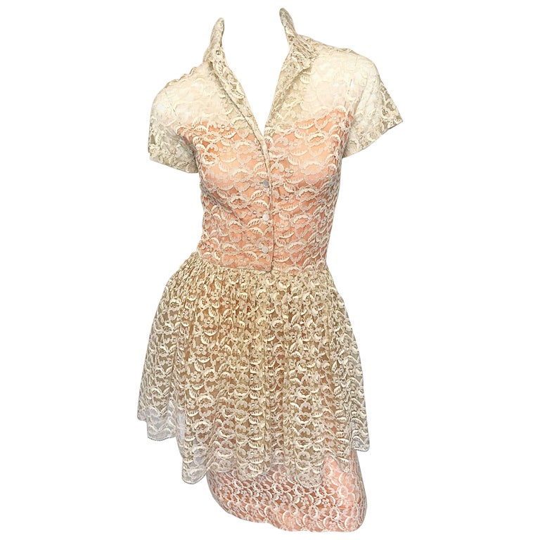 4db7ef5a21 Demi Couture 1950s Neusteters Ivory + Pink Silk French Lace Vintage Peplum  Dress For Sale