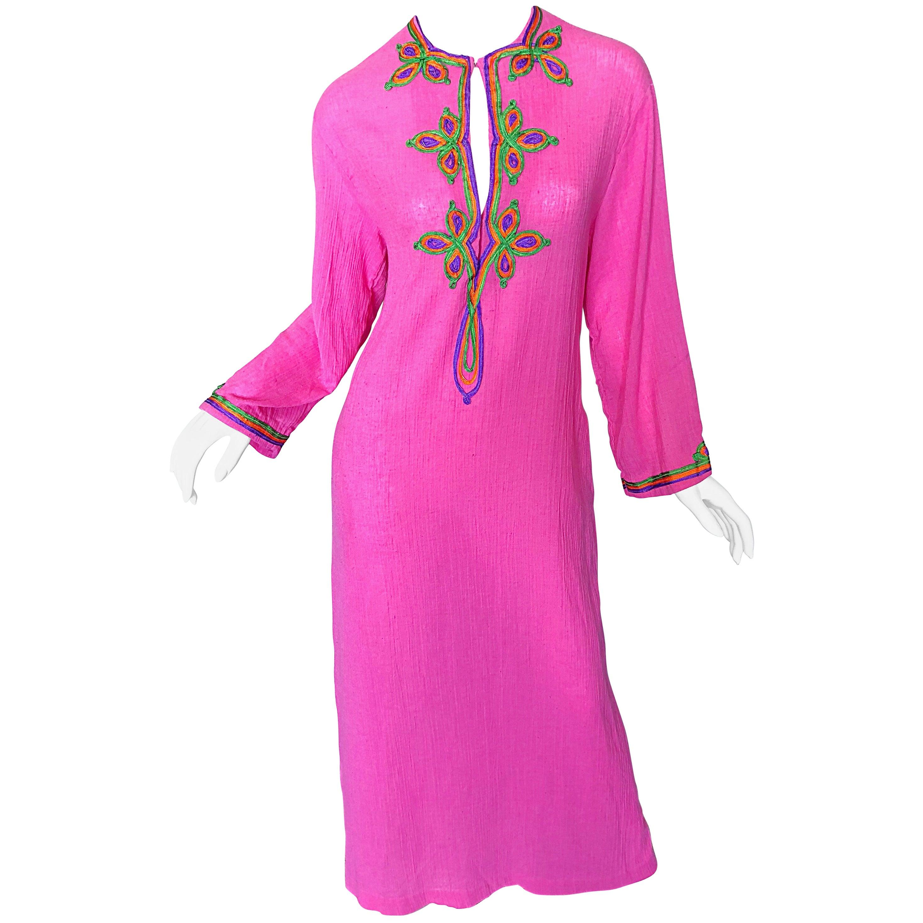 Vintage Christian Dior 1960s Bubblegum Pink Moroccan 60s Caftan Maxi Dress