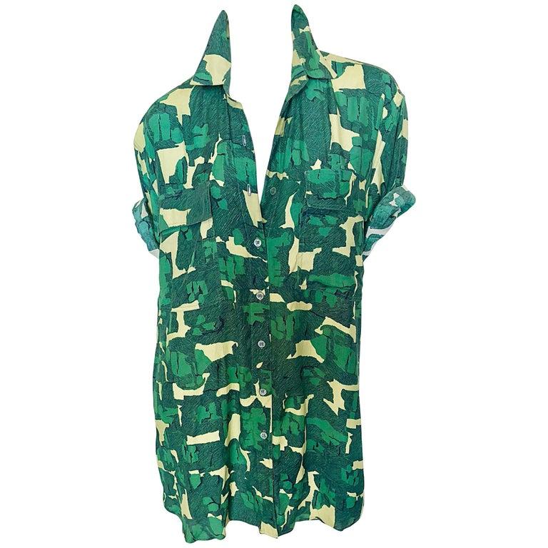 Vintage Azzedine Alaia Rare Camouflage Green Oversized Slouchy 80s Shirt Dress