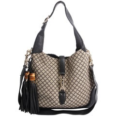 Gucci Jackie Diamante Canvas Hobo Bag Medim - black/grey