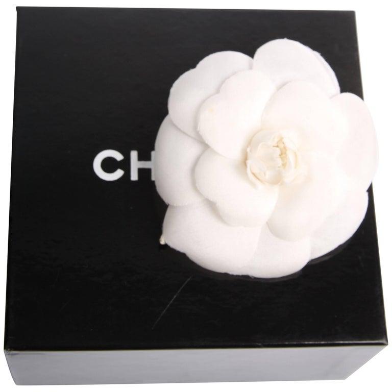 Chanel silk camellia flower brooch pin white at 1stdibs chanel silk camellia flower brooch pin white for sale mightylinksfo