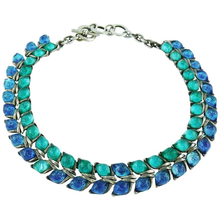 69700339587 Yves Saint Laurent YSL Blue Glass Cabochons Collar Necklace For Sale ...