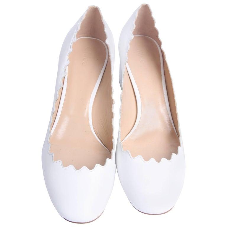 Chloe Lauren Scalloped Leather Pumps - white