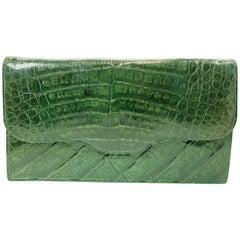 Vintage 1940s Green Crocodile Clutch Bag