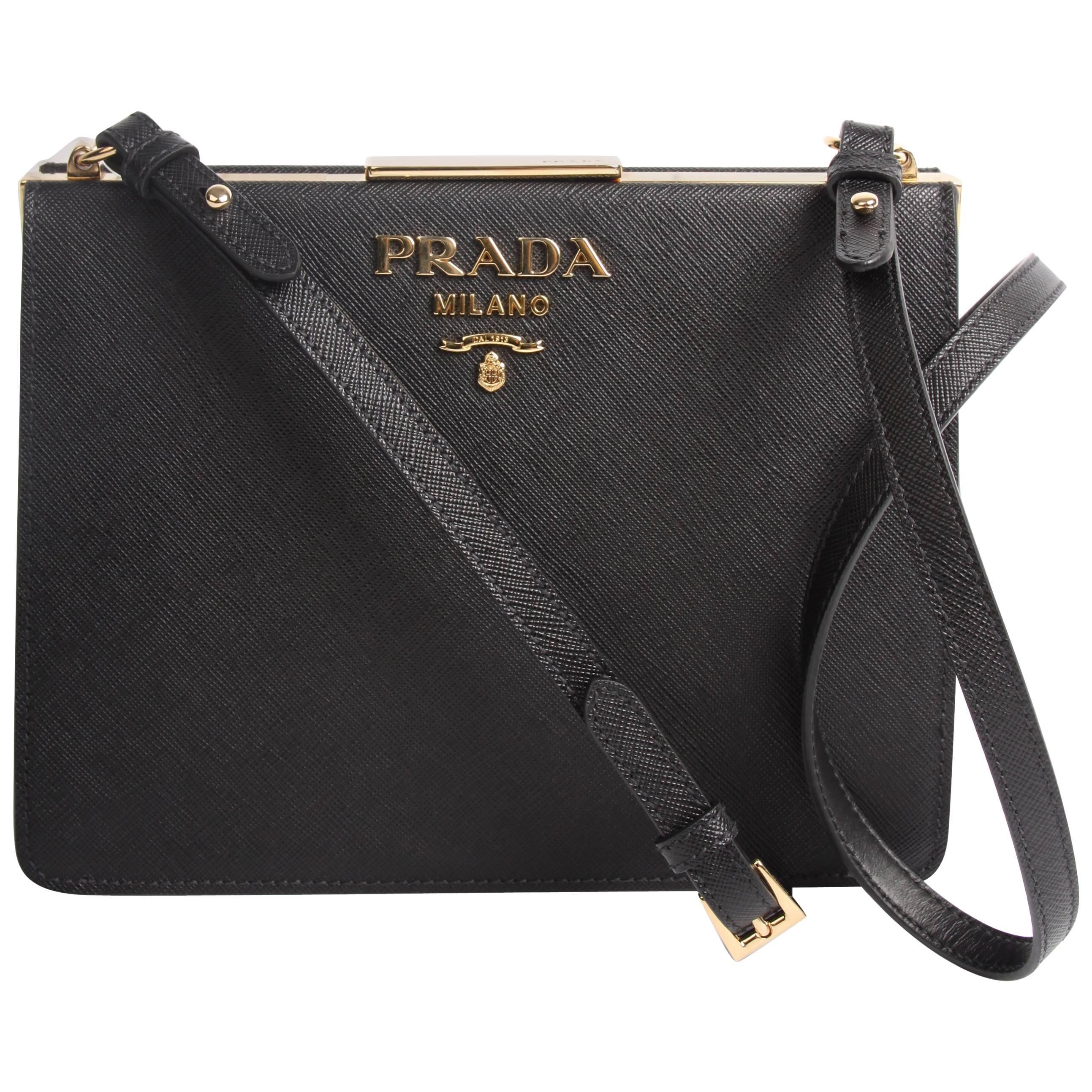 Prada Light Frame Saffiano Leather Shoulder Bag - black 2018 at 1stdibs c9ac3f8248f51