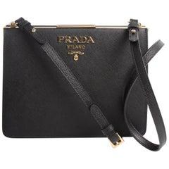 Prada Light Frame Saffiano Leather Shoulder Bag - black 2018