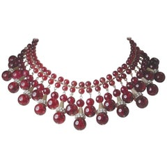 Vintage Rare Red Czech Glass Dangling Necklace