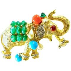 Vintage DeNicola 1960s Ornate Elephant Pin