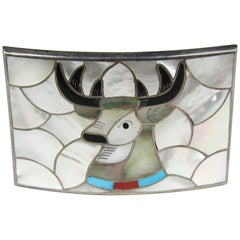 PORFILIO ANN SHEYKA Native American Sterling Silver Zuni Moose INLAY Belt Buckle