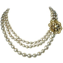 Vintage Miriam Haskell Three Strand Faux Pearl Necklace