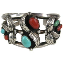 Old Pawn Navajo Native American Sterling Silver Turquoise Coral cuff Bracelet