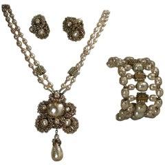 Vintage Miriam Haskell Parure – Necklace, Earrings & Bracelet