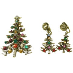Vintage Hollycraft Christmas Tree & Earrings set