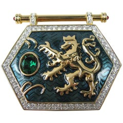 "1980's Swarovski ""Jeweler's Collection"" Crystal Enamel Shield Griffin Brooch"
