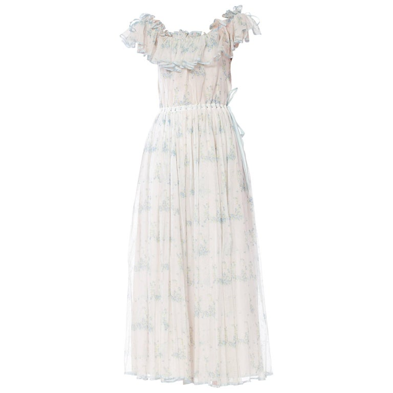 1970s Romantic Floral Net Dress