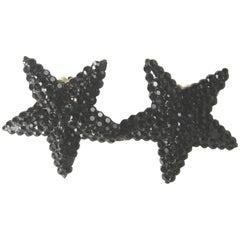 Vintage 1960s Richard Kerr's Black Rhinestone Star Earrings