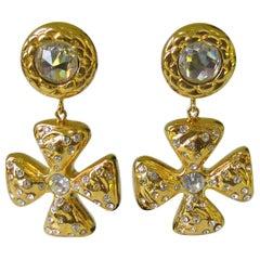 1980s Escada Maltese Cross Drop Crystal Earrings, Never Worn