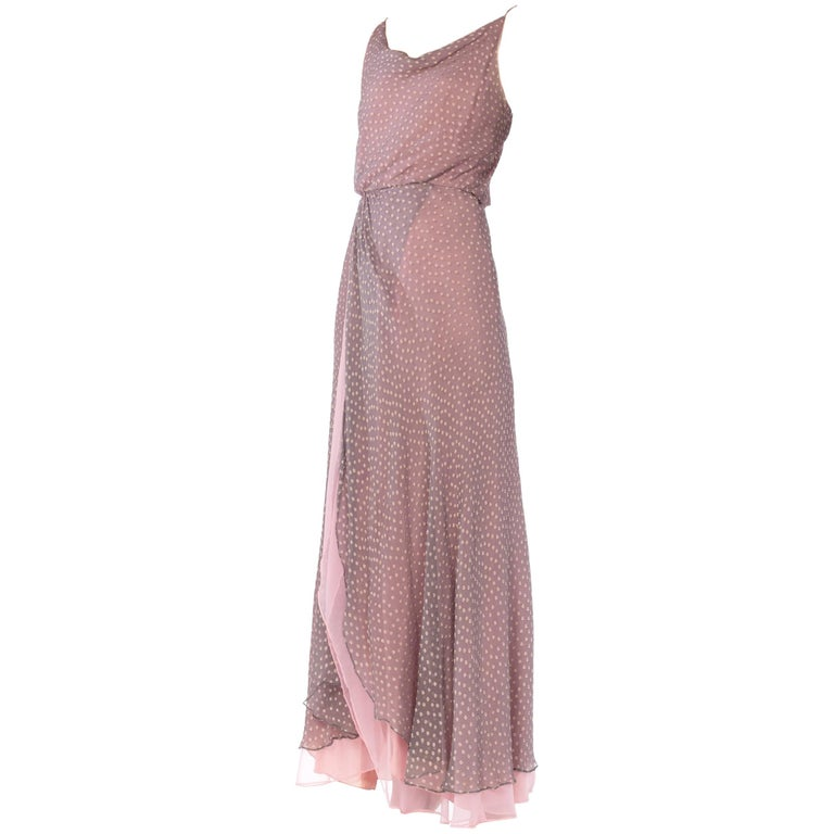 6a5c7740012fa 1970s Oscar De La Renta Silk Chiffon Dress For Sale at 1stdibs