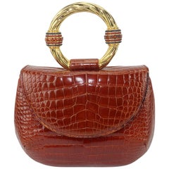 Vintage Judith Leiber Cognac Alligator Handbag With Jewelry Style Handle