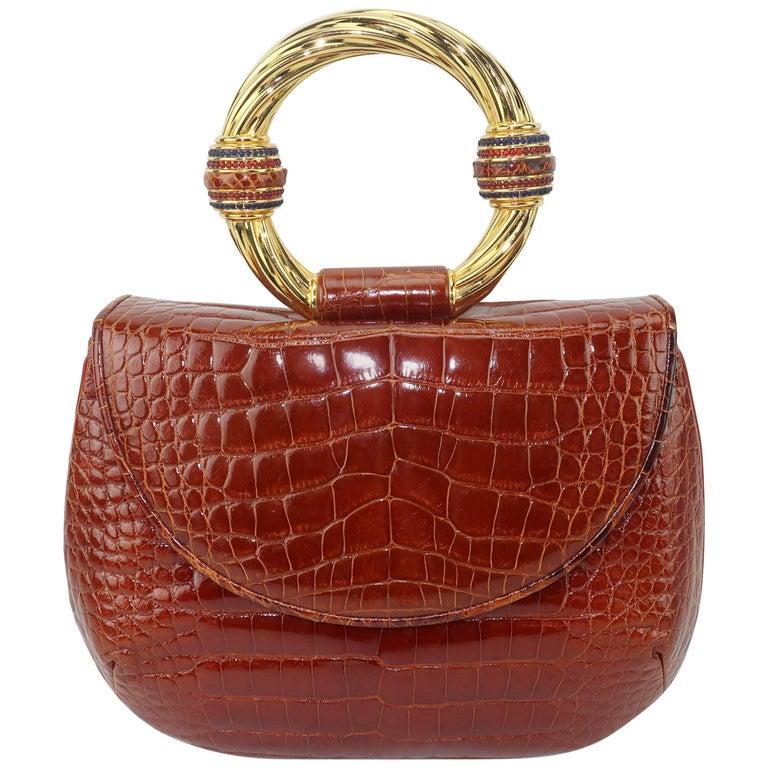 Vintage Judith Leiber Cognac Alligator Handbag With Jewelry Style Handle For Sale