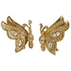 Kenneth Jay Lane Rhinestone Butterfly Earrings
