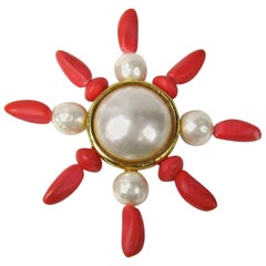 1980s Dominique Aurientis Gold Gilt Baroque Pearl Coral Brooch, Never Worn