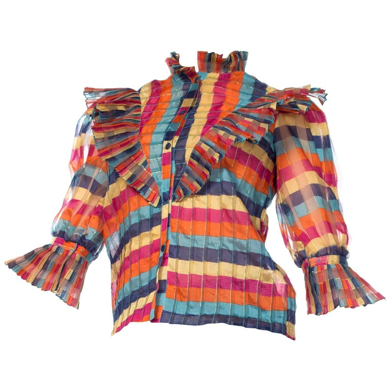 Fab Gucci Style 1970s Rainbow Ruffled Silk Blouse