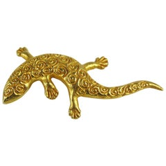1980s Dominique Aurientis Made France Lizard Gilt Gold Pin Brooch, Never worn
