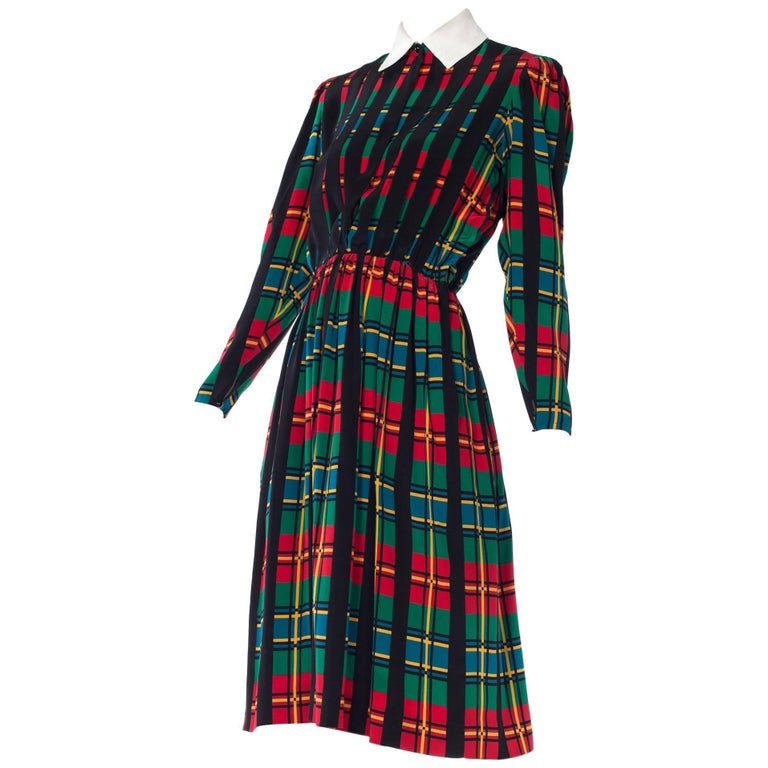 Albert Nipon Gucci Style Plaid Silk Dress