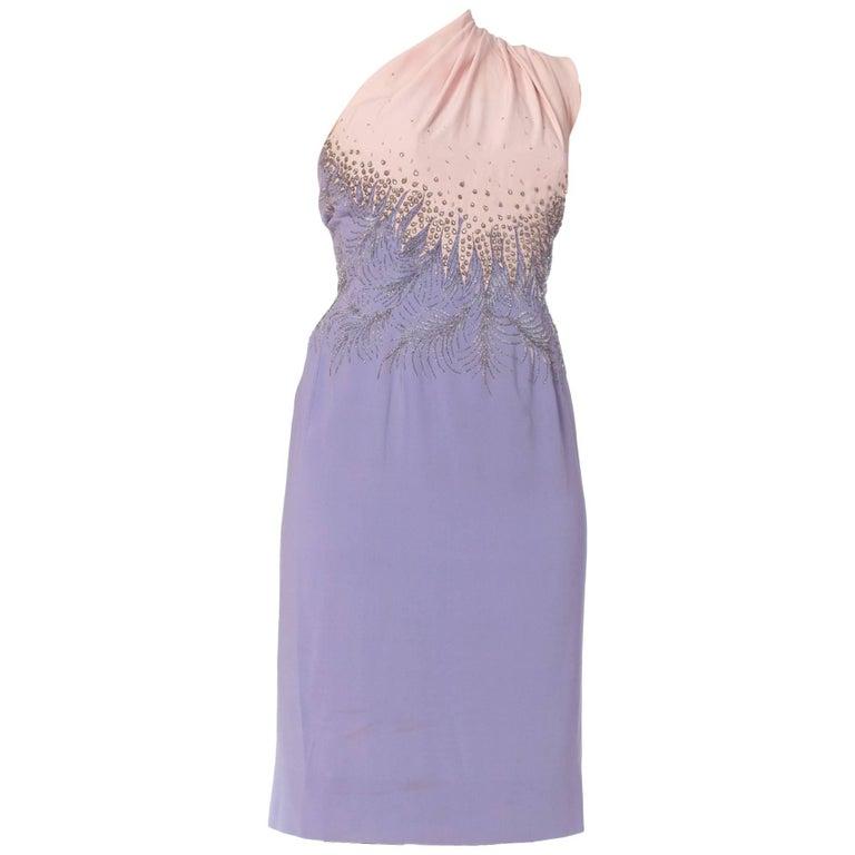 1950s Fercioni Italian Haute Couture Beaded Dress with Cape Shawl