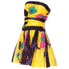 1980s Cathy Hardwick Printed Strapless Mini Dress