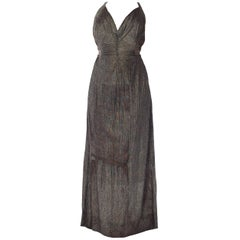 MORPHEW COLLECTION Black & Gold Antique Patina Silk Lamé  Gown With Low Back An