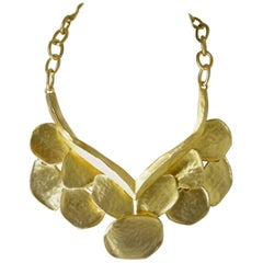 Kenneth Jay Lane Prototype Golden Wing Bib Necklace