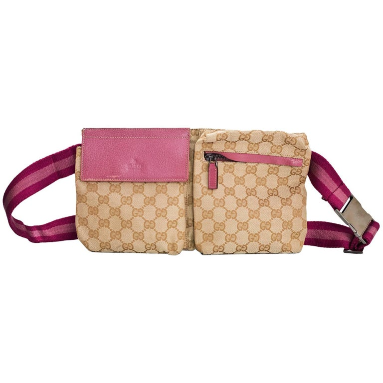 Gucci Beige and Pink Monogram Double Waist Pouch Belt Bag ...
